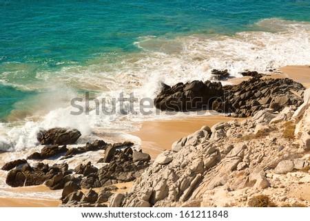 Shoreline of Sea of Cortez, Cabo San Lucas, Mexico - stock photo