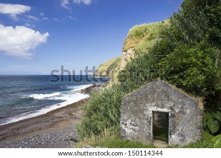 shoreline of the azores - stock photo