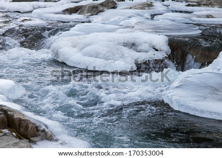 Shores of mountain river in winter time