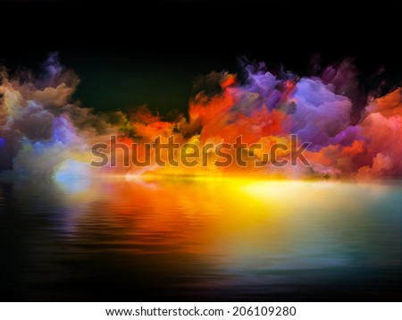 Shores of Neverland series. Composition of colors and gradients suitable as a backdrop for the projects on art, creativity, imagination and design - stock photo