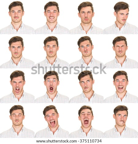 short and black hair mustache young caucasian man collection set of face expression like happy, sad, angry, surprise, yawn isolated on white