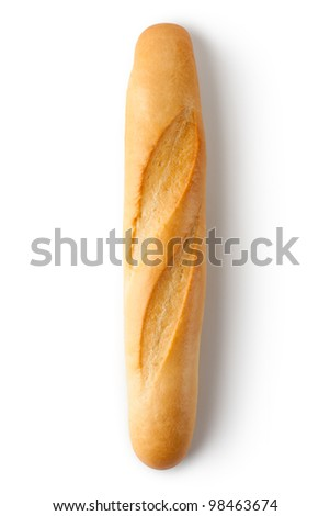 Short baguette. Top view. Isolated on a white. - stock photo