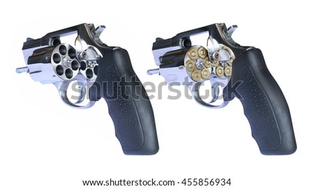 Short barrel ultra lightweight titanium revolver with jacketed hollow point high speed ammo cartridges bullets gun, on white background - stock photo