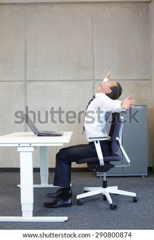 short break for exercise - better efficiency at office work  - stock photo