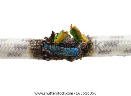 short circuit, burnt cable - stock photo