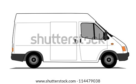 Short delivery van - stock photo