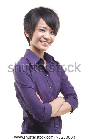 Short hair Asian Educational/Business woman on white background - stock photo