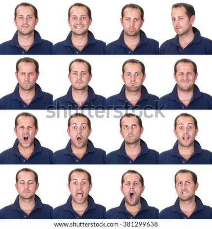 short hair brunette adult casual caucasian man collection set of face expression like happy, sad, angry, surprise, yawn isolated on white - stock photo