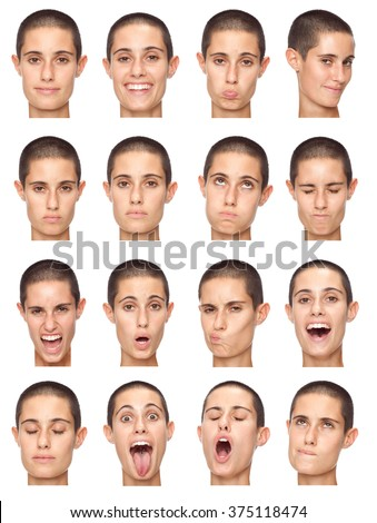 short hair brunette adult caucasian woman collection set of face expression like happy, sad, angry, surprise, yawn isolated on white - stock photo