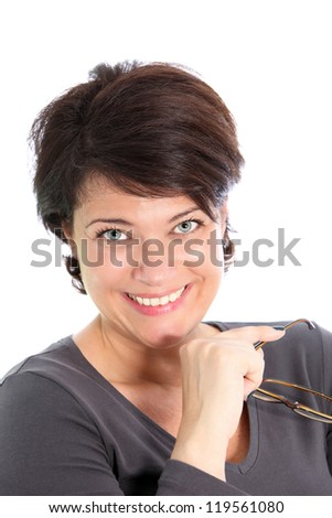 Short-haired executive smiles after removing eyeglasses from eyes. - stock photo