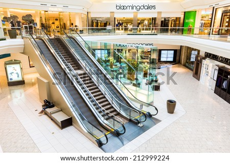 SHORT HILLS, NJ, USA - AUGUST 25, 2014: The Mall at Short Hills. The Mall at Short Hills is one of the most expensive malls in US with 160 specialty stores of international and luxury retailers.