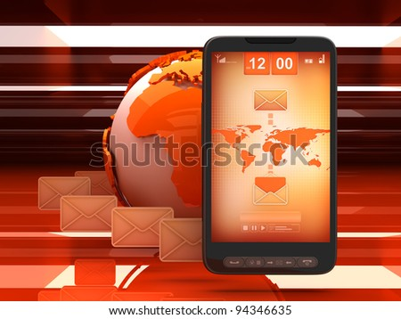 Short Message Service (SMS) - concept illustration - stock photo