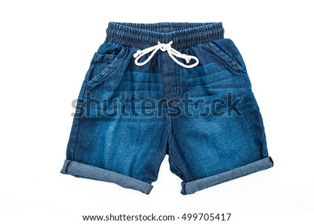 Short pants and clothes isolated on white background