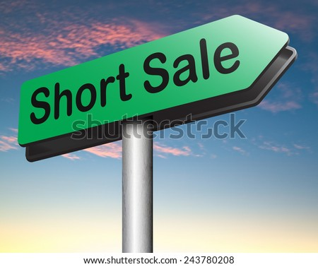 short sale reduced prices sales banner mortgage foreclosure and house repossession  - stock photo