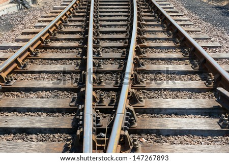 Short section of parallel rail track converging due to perspective