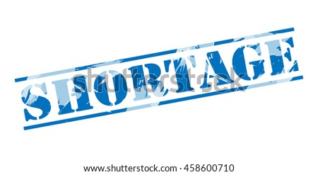 shortage blue stamp on white background - stock photo