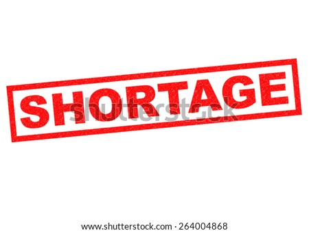 SHORTAGE red Rubber Stamp over a white background. - stock photo