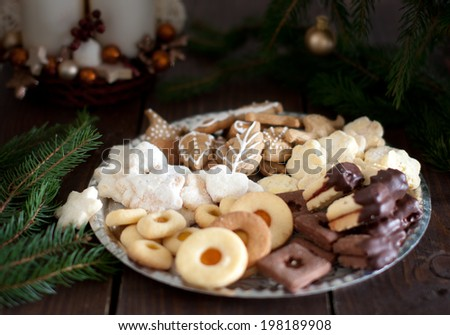 Shortbread Christmas cookies with Christmas decorations - stock photo