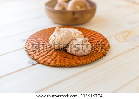 shortbread cookies on a wooden background - stock photo