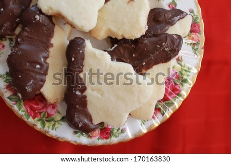 Shortbread dipped cookies - stock photo