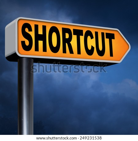 shortcut short route cut distance fast easy way bypass  - stock photo