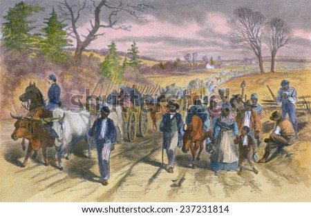 Shortly after the Emancipation Proclamation went into effect on January 1, 1863 many freed slaves escaped to the Union Army lines at Newbern, Feb. 1863 wood engraving with modern color. - stock photo