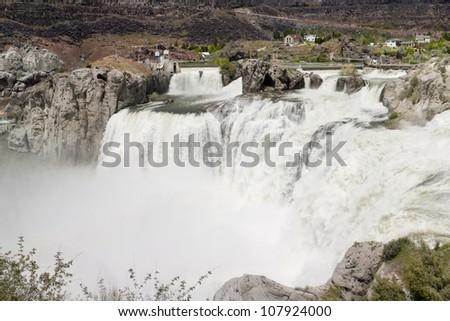 Shoshone Falls near Twin Falls, Idaho during spring run-off, Snake River - stock photo