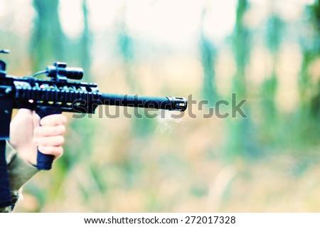 shot a gun - stock photo