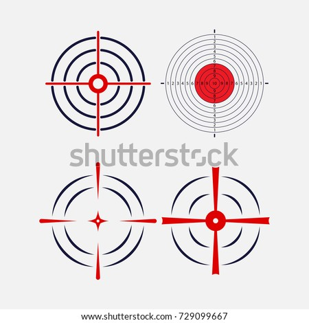 Shot at the target, exact hit, image for the hunt, exactly in the target, logo for the shooting gallery, image