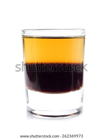 Shot Cockroach made from 1 oz Kahlua, 1 oz Scotch Whiskey isolated on white background