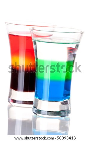 Shot cocktail collection: Anabolic and Morning alcohol cocktails isolated on white background