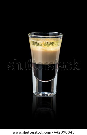 Shot cocktail on a black background