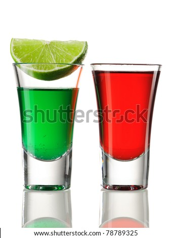 Shot drink cocktails isolated on white - stock photo
