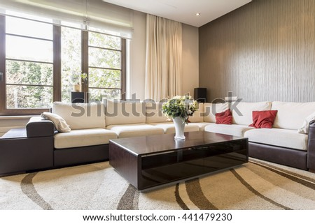Shot of a bing sofa in a spacious stylish living room
