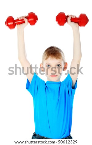 Shot of a boy with dumbbells. Isolated over white background. - stock photo
