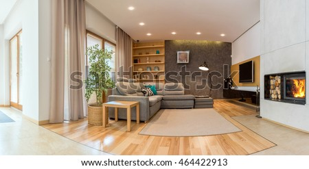 Shot of a cozy, spacious living room in a modern house