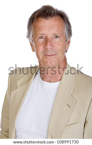 Shot of a Handsome Senior Male against White - stock photo