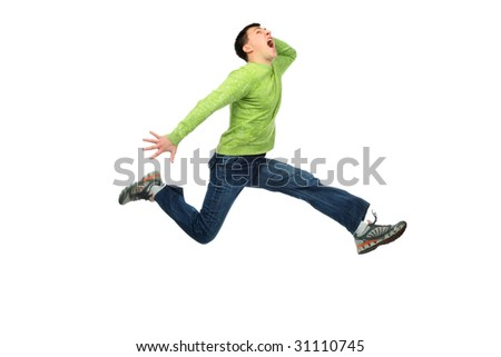 Shot of a jumping young man. Success, life events. - stock photo
