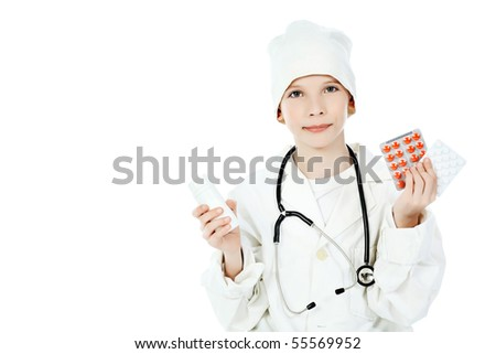 Shot of a little boy in a doctors uniform. Isolated over white background. - stock photo