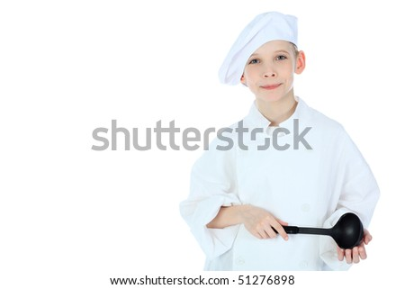 Shot of a little kitchen boy in a white uniform. Isolated over white background.