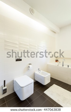 Shot of a modern bathroom with white walls