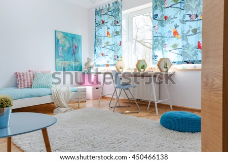 Shot of a modern blue children's room