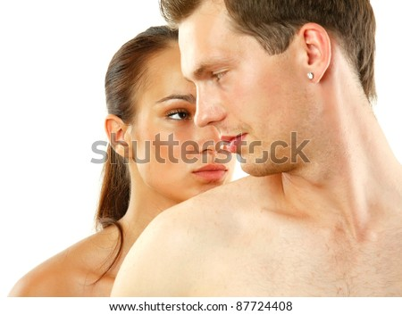Shot of a passionate loving couple isolated on white background