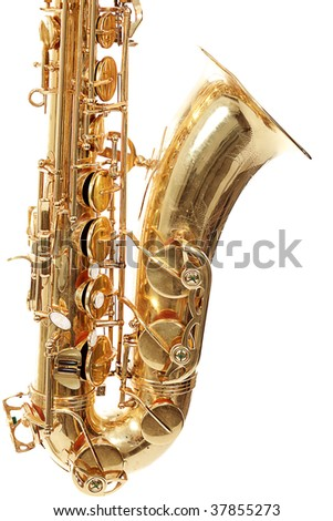 Shot of a saxophone isolated on white background.
