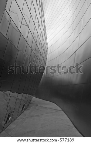 Shot of a segment of wall of the LA opera house designed by Frank Gehry. Excellent for use as a background. - stock photo