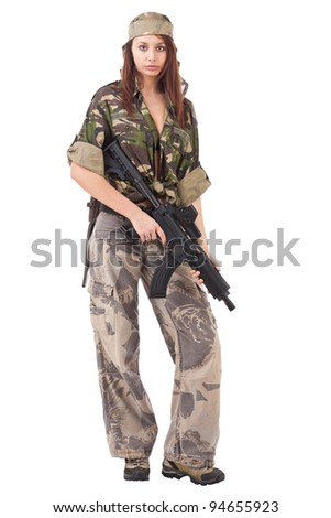 Shot of a sexy woman in military uniform posing against white background.