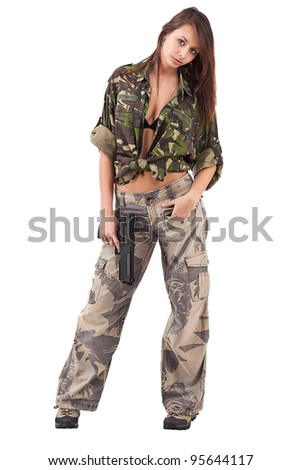 Shot of a sexy woman in military uniform posing against white background. - stock photo