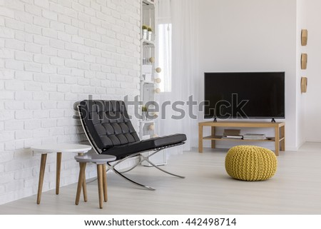 Shot of a simply decorated living room in a modern apartment - stock photo