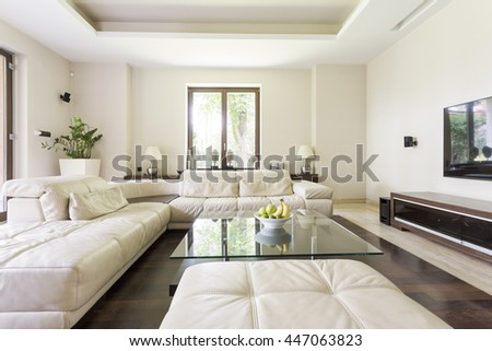 Shot of a spacious living room with a big sofa and a TV