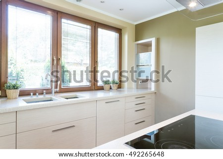 Shot of a white modern kitchen with big windows
